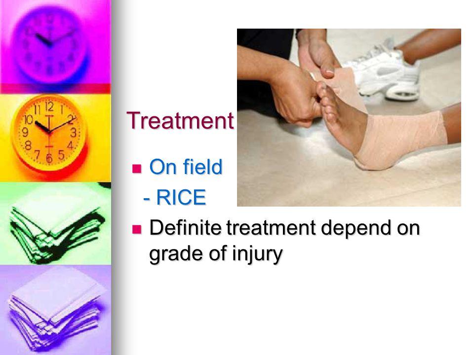 Treatment On field On field - RICE - RICE Definite treatment depend on grade of injury Definite treatment depend on grade of injury