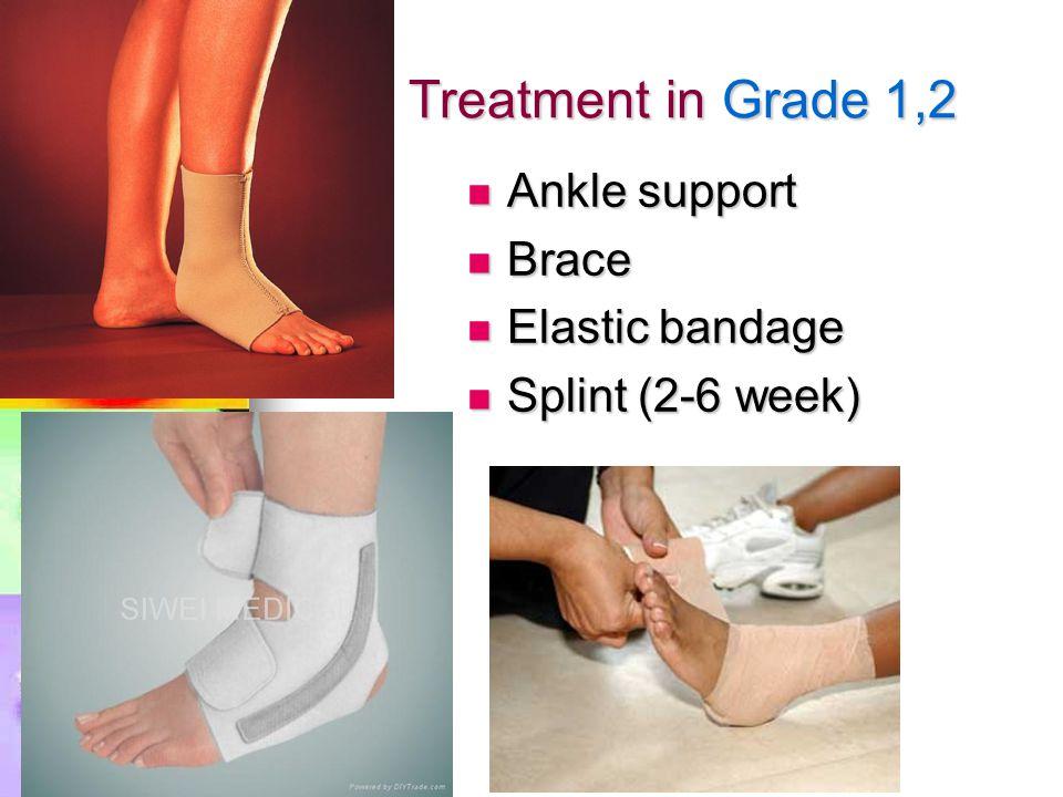 Treatment in Grade 1,2 Ankle support Ankle support Brace Brace Elastic bandage Elastic bandage Splint (2-6 week) Splint (2-6 week)