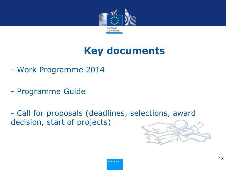 Erasmus+ Key documents - Work Programme Programme Guide - Call for proposals (deadlines, selections, award decision, start of projects) 18