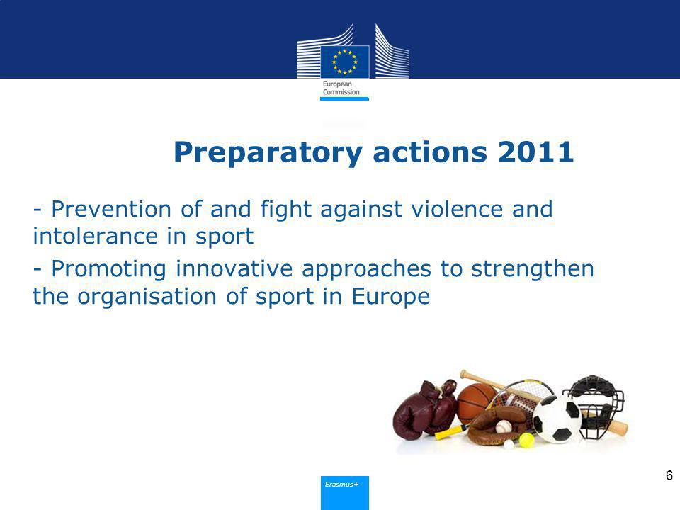 Erasmus+ Preparatory actions 2012 - Fight against match-fixing - Promotion of physical activity supporting active ageing - Awareness-raising about effective ways of promoting sport at municipal level - Trans-frontier joint grassroots sport competitions in neighbouring regions and Member States 7