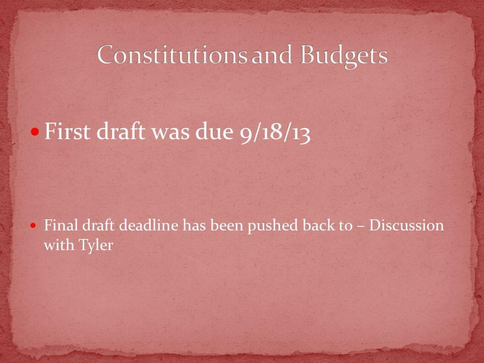 First draft was due 9/18/13 Final draft deadline has been pushed back to – Discussion with Tyler