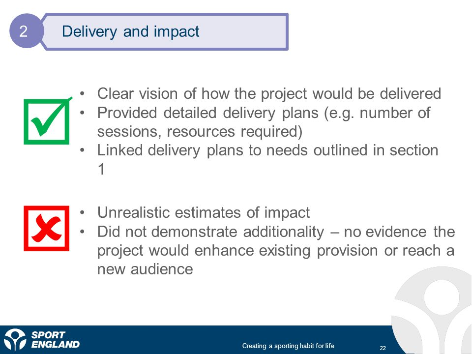 Creating a sporting habit for life 22 Delivery and impact 2 Clear vision of how the project would be delivered Provided detailed delivery plans (e.g.