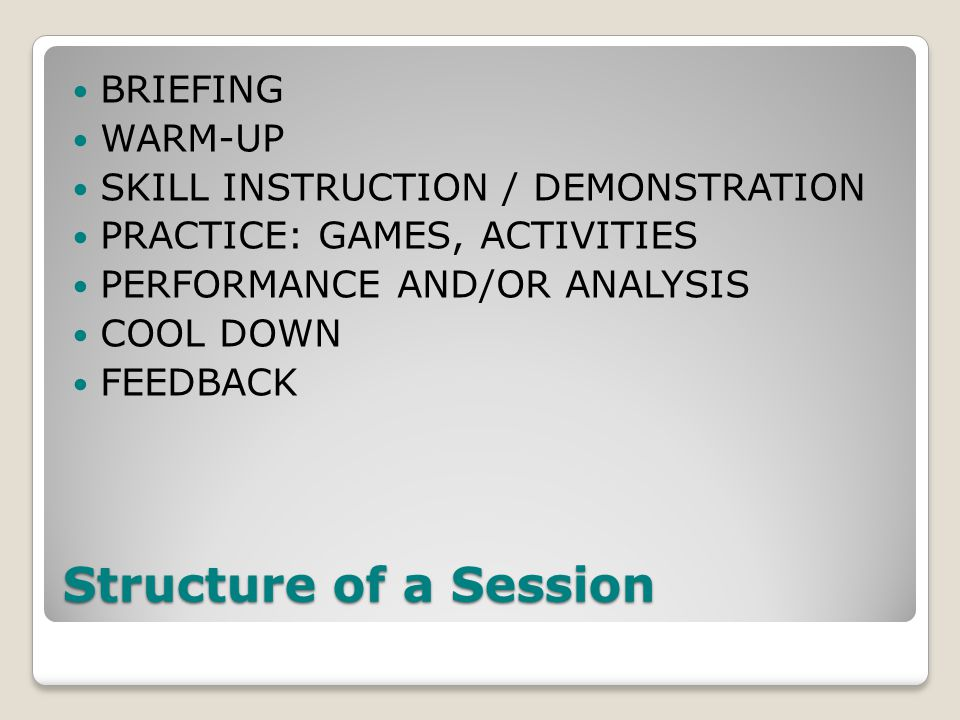 Structure of a Session BRIEFING WARM-UP SKILL INSTRUCTION / DEMONSTRATION PRACTICE: GAMES, ACTIVITIES PERFORMANCE AND/OR ANALYSIS COOL DOWN FEEDBACK