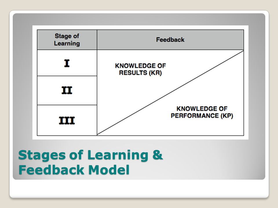 Stages of Learning & Feedback Model