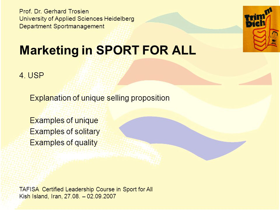 Marketing in SPORT FOR ALL 4.