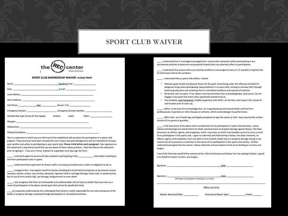 SPORT CLUB WAIVER