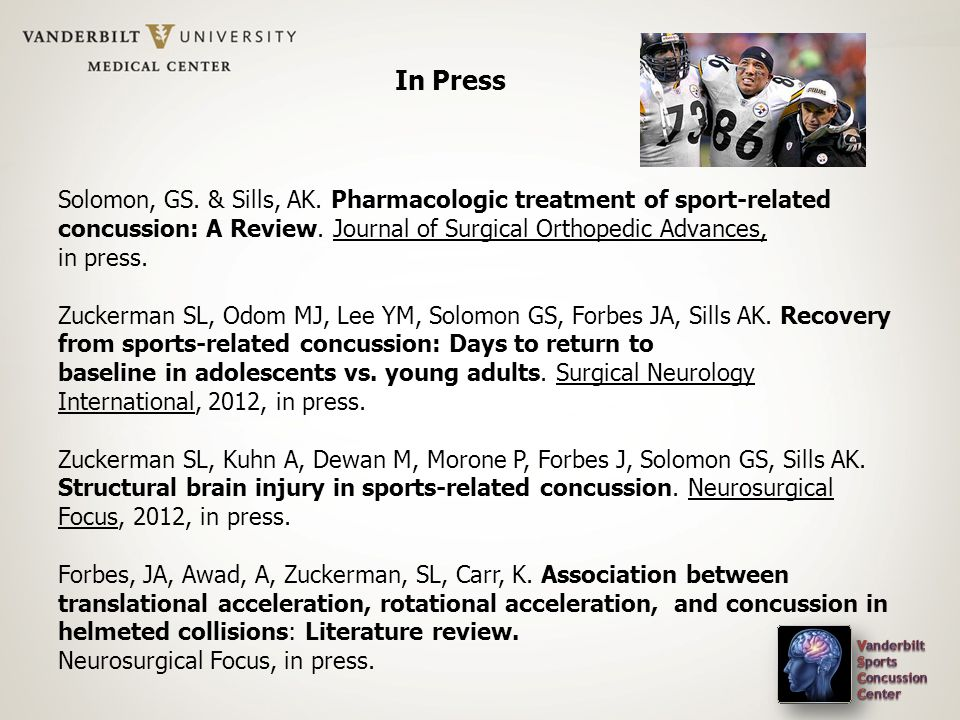 In Press Solomon, GS. & Sills, AK. Pharmacologic treatment of sport-related concussion: A Review. Journal of Surgical Orthopedic Advances, in press. Z