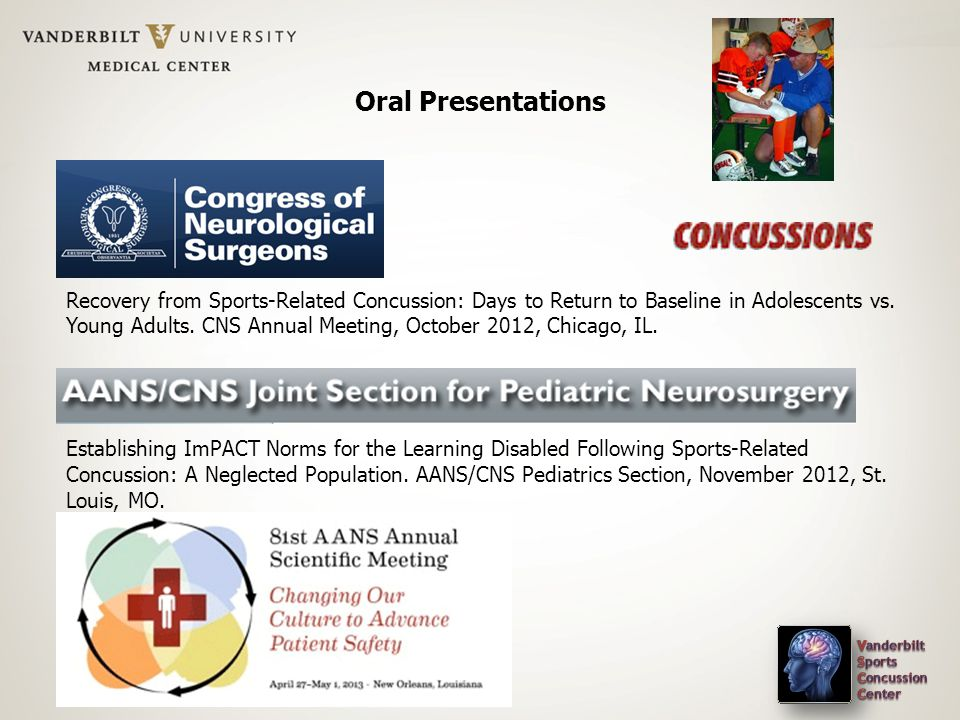 Oral Presentations \\ Recovery from Sports-Related Concussion: Days to Return to Baseline in Adolescents vs.