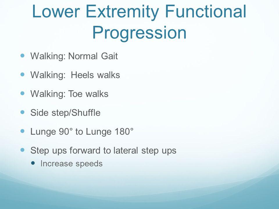 Lower Extremity Functional Progression Walking: Normal Gait Walking: Heels walks Walking: Toe walks Side step/Shuffle Lunge 90° to Lunge 180° Step ups