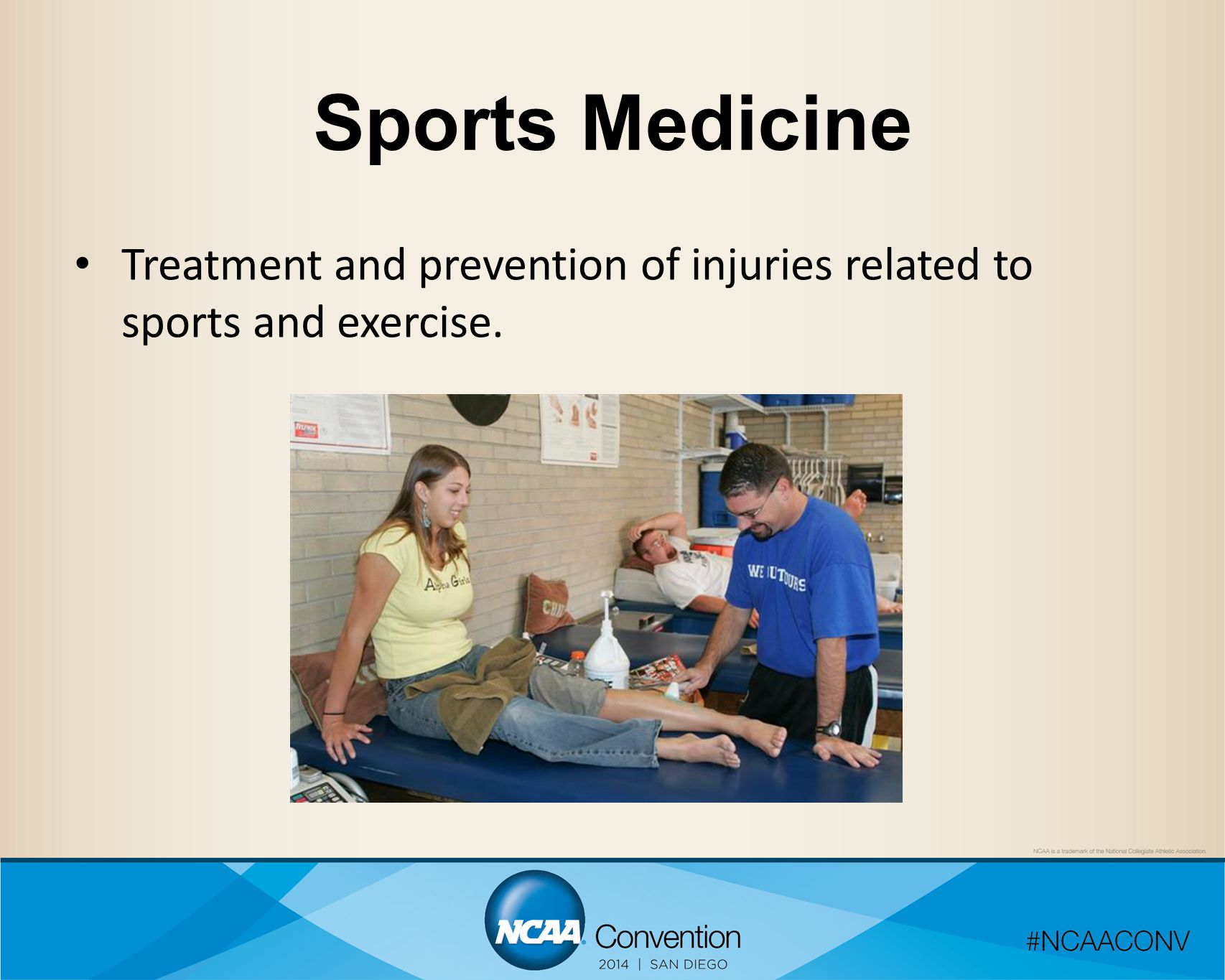 Sports Medicine Treatment and prevention of injuries related to sports and exercise.