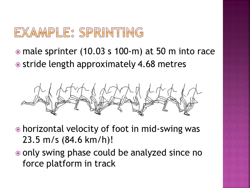 male sprinter (10.03 s 100-m) at 50 m into race stride length approximately 4.68 metres horizontal velocity of foot in mid-swing was 23.5 m/s (84.6 km/h).