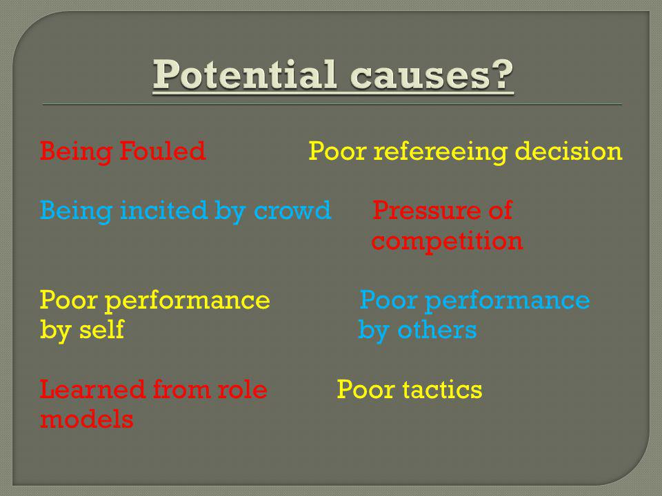 Being Fouled Poor refereeing decision Being incited by crowd Pressure of competition Poor performance by self by others Learned from role Poor tactics