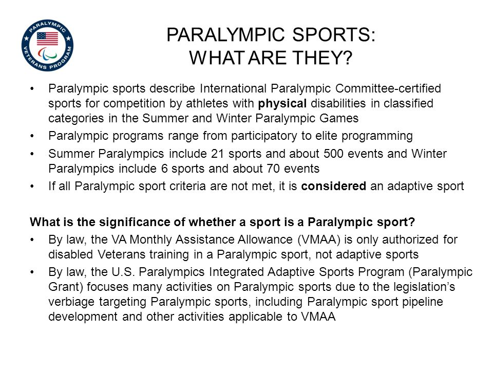 Paralympic sports describe International Paralympic Committee-certified sports for competition by athletes with physical disabilities in classified ca