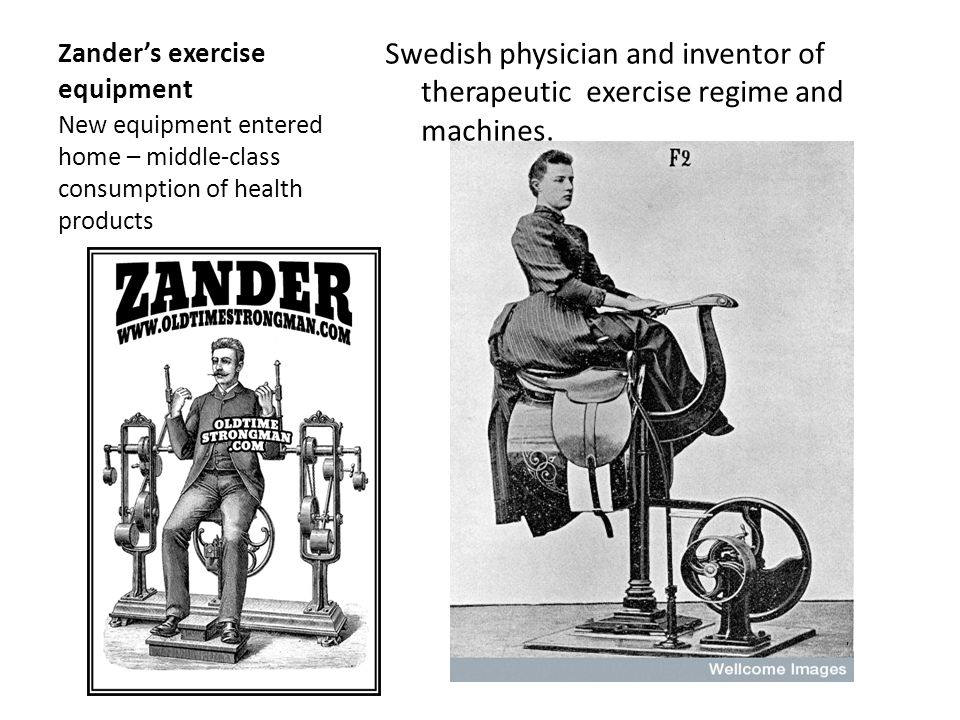 Zanders exercise equipment Swedish physician and inventor of therapeutic exercise regime and machines.