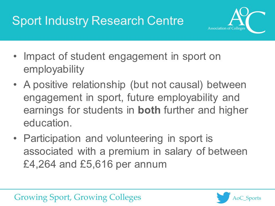 Sport Industry Research Centre Impact of student engagement in sport on employability A positive relationship (but not causal) between engagement in s