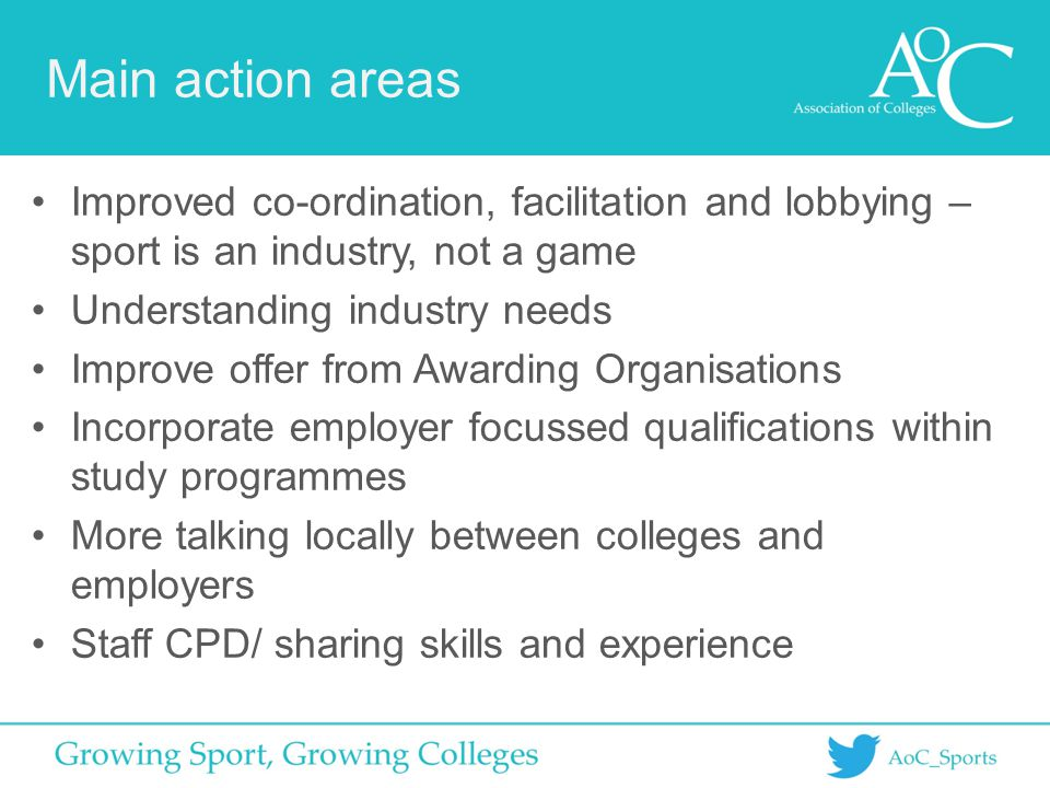 Main action areas Improved co-ordination, facilitation and lobbying – sport is an industry, not a game Understanding industry needs Improve offer from