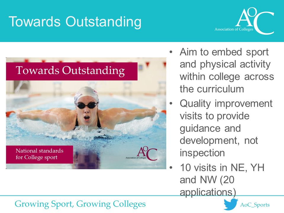 Towards Outstanding Aim to embed sport and physical activity within college across the curriculum Quality improvement visits to provide guidance and d