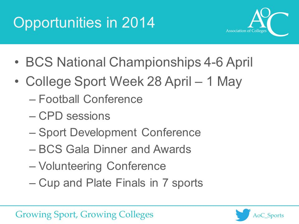Opportunities in 2014 BCS National Championships 4-6 April College Sport Week 28 April – 1 May –Football Conference –CPD sessions –Sport Development Conference –BCS Gala Dinner and Awards –Volunteering Conference –Cup and Plate Finals in 7 sports