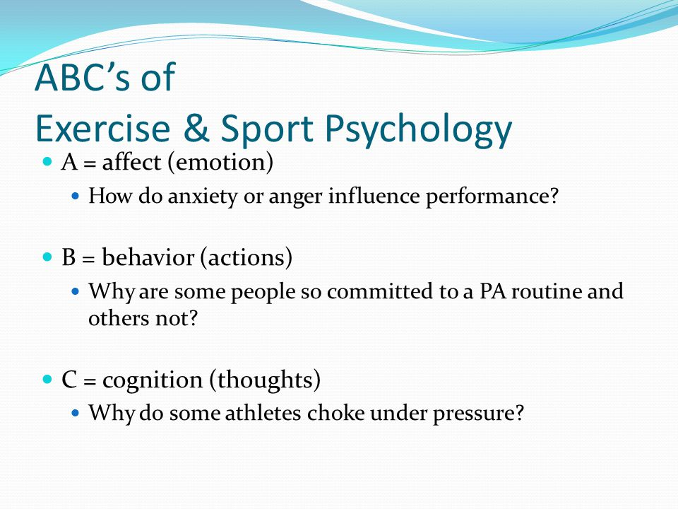 Sport and Exercise Psychology Orientations: 3.