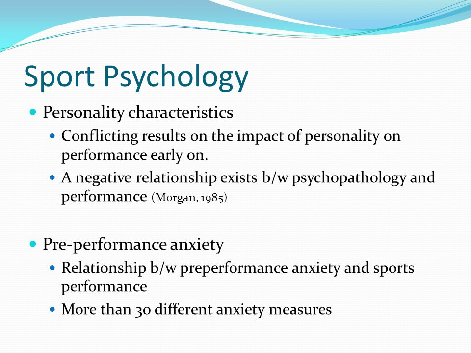 Sport Psychology Performance enhancement techniques Psychological interventions to improve sports performance Mental Imagery Internalized mental rehearsal Goal Setting Attainment of a specific level of proficiency on a task Motivation What success and failure mean to that individual Intrinsic versus Extrinsic Motivation Confidence Enhancement Belief that one will be successful.