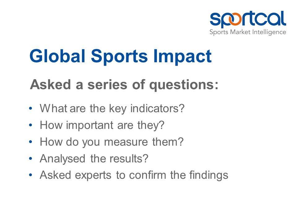 Global Sports Impact Economic Financial Sport Media Social Environmental Identified a series of indicators: