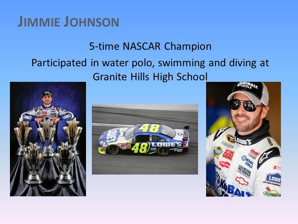 J IMMIE J OHNSON 5-time NASCAR Champion Participated in water polo, swimming and diving at Granite Hills High School