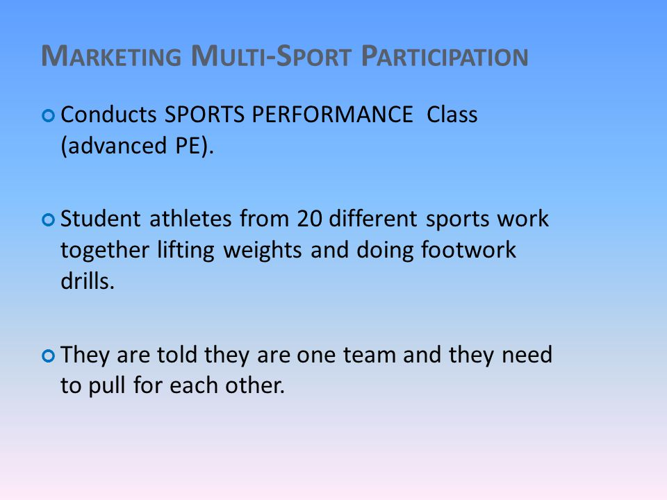 M ARKETING M ULTI -S PORT P ARTICIPATION Conducts SPORTS PERFORMANCE Class (advanced PE).