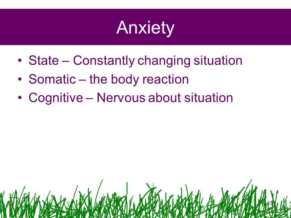 Anxiety State – Constantly changing situation Somatic – the body reaction Cognitive – Nervous about situation 15