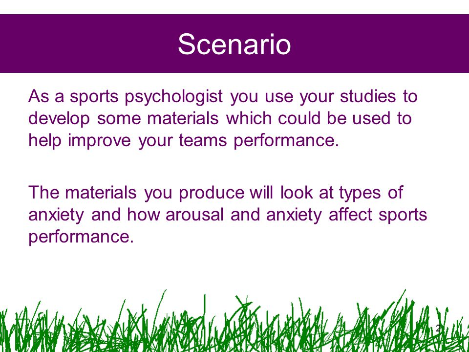 Scenario As a sports psychologist you use your studies to develop some materials which could be used to help improve your teams performance. The mater