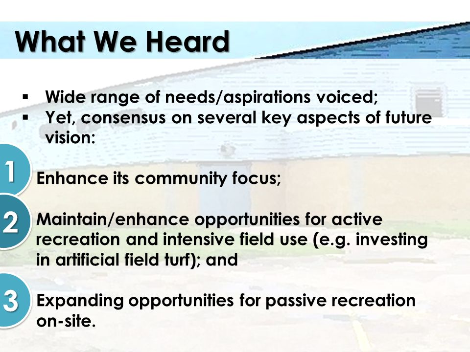 What We Heard Wide range of needs/aspirations voiced; Yet, consensus on several key aspects of future vision: Enhance its community focus; Maintain/en