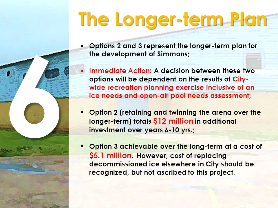 6 The Longer-term Plan Options 2 and 3 represent the longer-term plan for the development of Simmons; Immediate Action: A decision between these two o