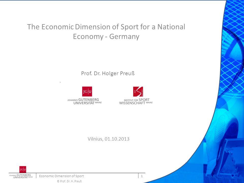 | Economic Dimension of Sport | 2 © Prof.Dr. H.
