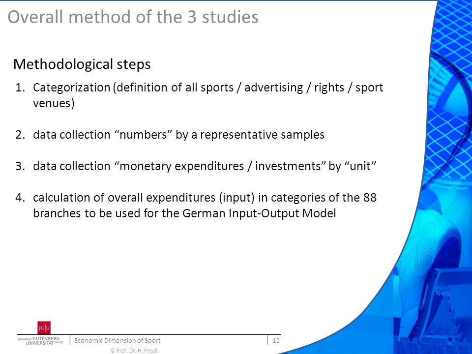   Economic Dimension of Sport   10 © Prof. Dr. H. Preuß Overall method of the 3 studies Methodological steps 1.Categorization (definition of all sport