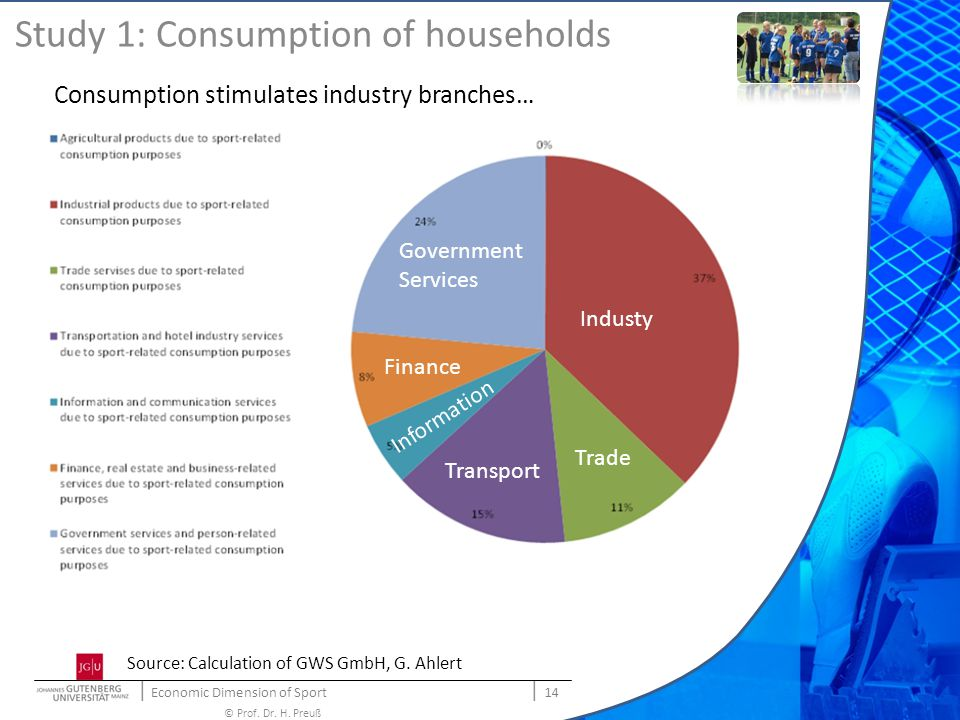   Economic Dimension of Sport   14 © Prof. Dr. H. Preuß Study 1: Consumption of households Consumption stimulates industry branches… Industy Trade Tra