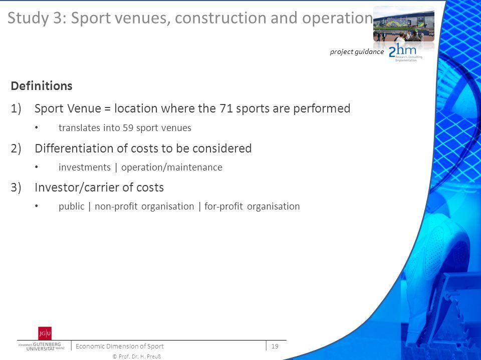 | Economic Dimension of Sport | 19 © Prof. Dr. H.