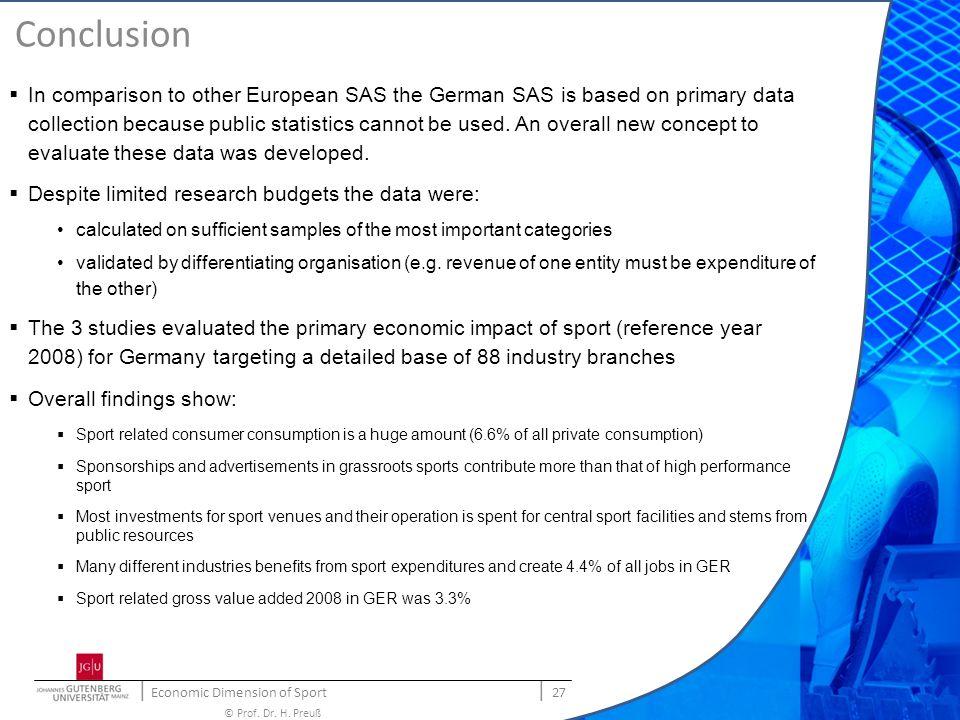 | Economic Dimension of Sport | 27 © Prof. Dr. H.