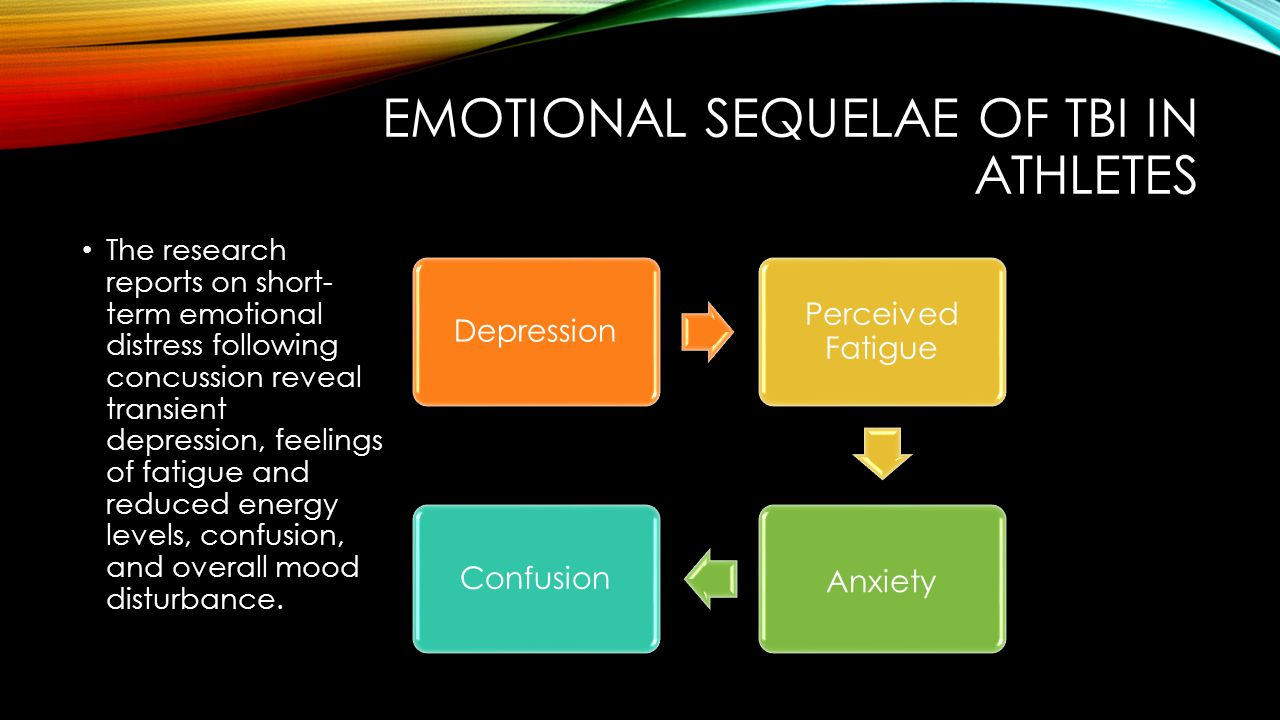 EMOTIONAL SEQUELAE OF TBI IN ATHLETES The research reports on short- term emotional distress following concussion reveal transient depression, feelings of fatigue and reduced energy levels, confusion, and overall mood disturbance.