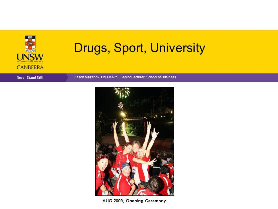 Critique of Anti-Doping Drugs inimical to modern sport Doping scandal good for business Unlikely to ever win the war on drugs in sport (Fahey, 2013) No definition of Spirit of Sport (Mazanov et al, 2012) Drug testing inherently flawed (epidemiology unknown) Individually rather than institutionally focused Impugns human rights to protect private institutional interest Intensely complicated system (biochemists; XZTT) Focus on elite sport at expense of everyone else Focus on doping at expense of other drugs Fails to manage the role of drugs in sport (Mazanov, 2013) Need a new approach to manage drugs in sport