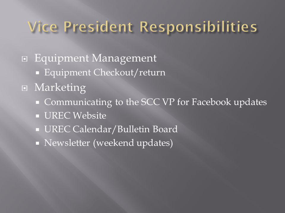 Equipment Management Equipment Checkout/return Marketing Communicating to the SCC VP for Facebook updates UREC Website UREC Calendar/Bulletin Board Newsletter (weekend updates)