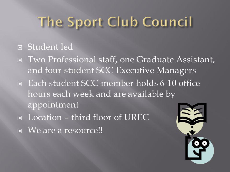 Student led Two Professional staff, one Graduate Assistant, and four student SCC Executive Managers Each student SCC member holds 6-10 office hours each week and are available by appointment Location – third floor of UREC We are a resource!!