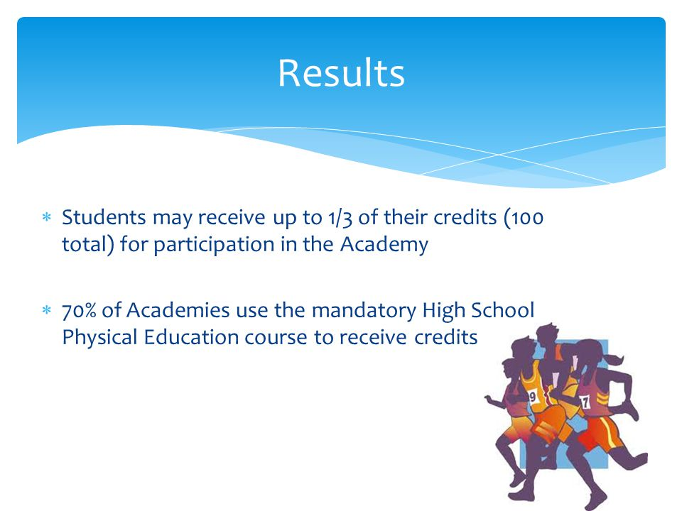 Students may receive up to 1/3 of their credits (100 total) for participation in the Academy 70% of Academies use the mandatory High School Physical Education course to receive credits Results