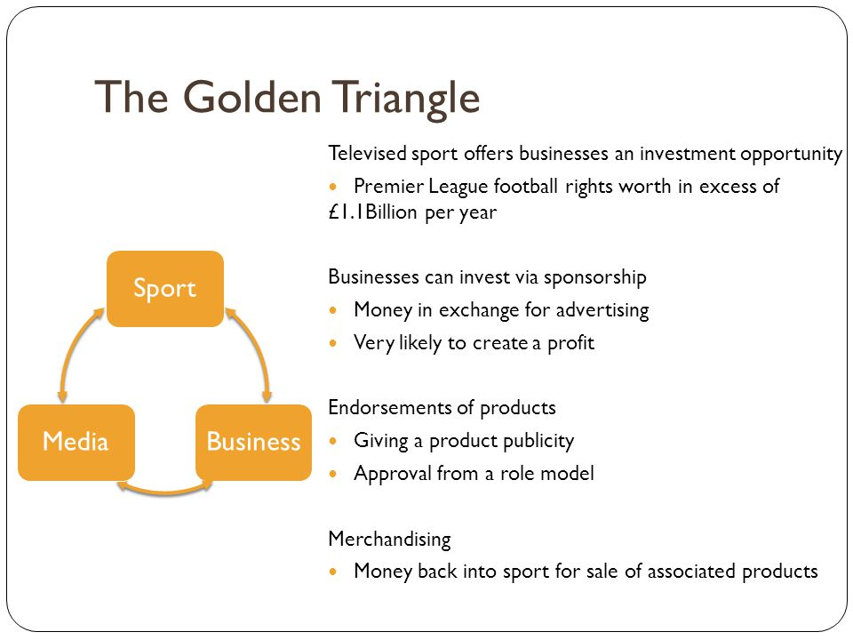 The Golden Triangle SportBusinessMedia Televised sport offers businesses an investment opportunity Premier League football rights worth in excess of £