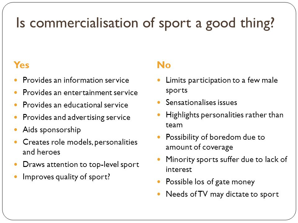 Is commercialisation of sport a good thing? YesNo Provides an information service Provides an entertainment service Provides an educational service Pr