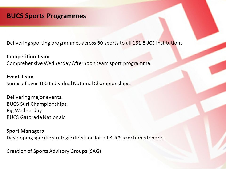BUCS Sports Programmes Delivering sporting programmes across 50 sports to all 161 BUCS institutions Competition Team Comprehensive Wednesday Afternoon