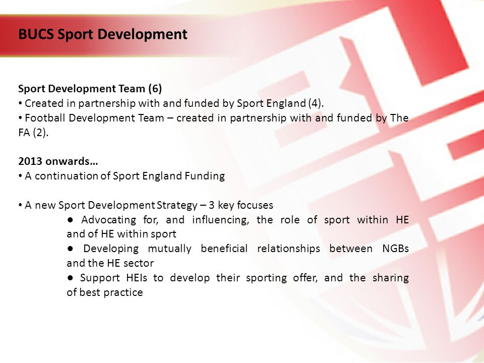 BUCS Sport Development Sport Development Team (6) Created in partnership with and funded by Sport England (4).