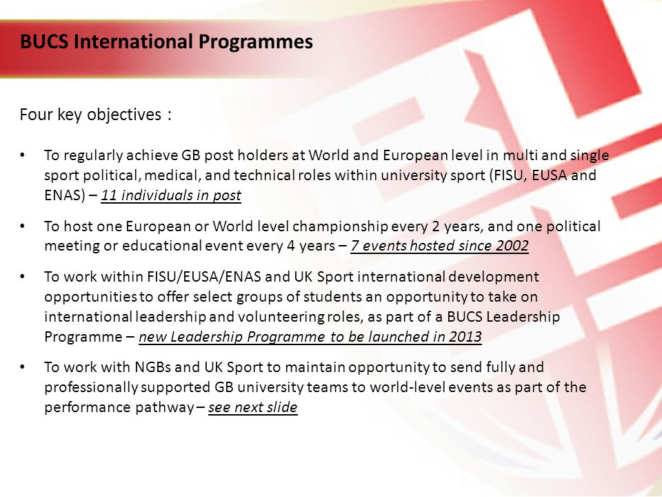 BUCS International Programmes Four key objectives : To regularly achieve GB post holders at World and European level in multi and single sport political, medical, and technical roles within university sport (FISU, EUSA and ENAS) – 11 individuals in post To host one European or World level championship every 2 years, and one political meeting or educational event every 4 years – 7 events hosted since 2002 To work within FISU/EUSA/ENAS and UK Sport international development opportunities to offer select groups of students an opportunity to take on international leadership and volunteering roles, as part of a BUCS Leadership Programme – new Leadership Programme to be launched in 2013 To work with NGBs and UK Sport to maintain opportunity to send fully and professionally supported GB university teams to world-level events as part of the performance pathway – see next slide