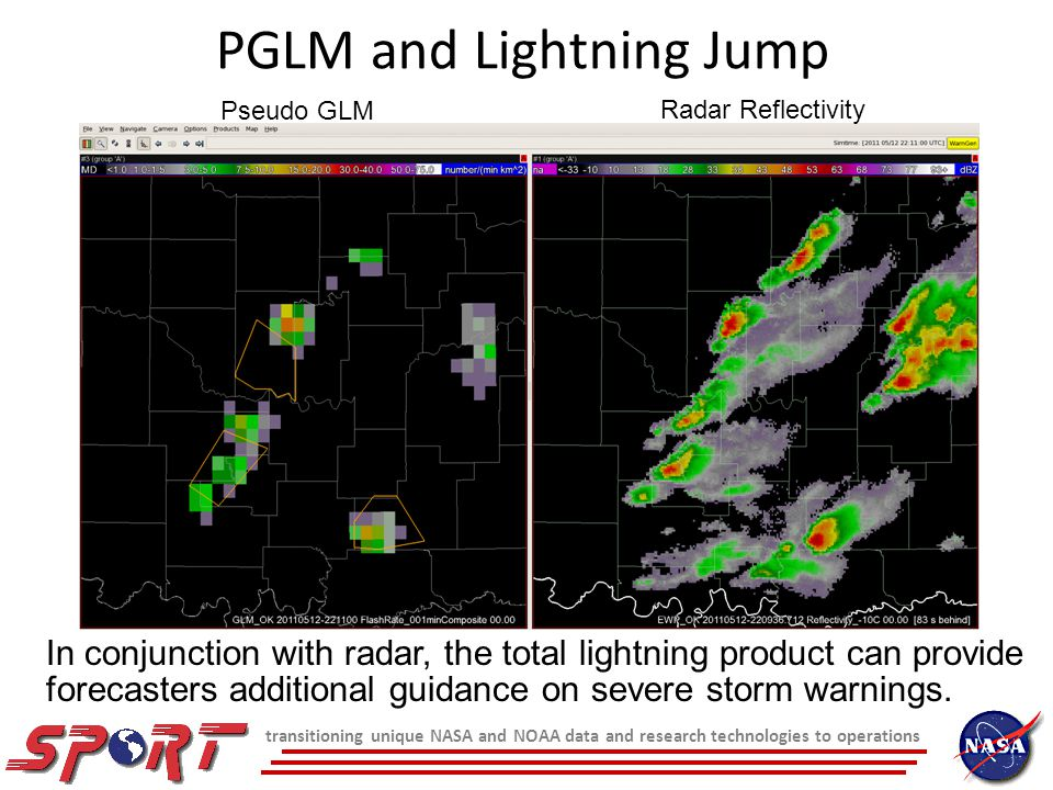 transitioning unique NASA and NOAA data and research technologies to operations SPoRT Focus (continued) GOES-R Proving Ground oWork with AWGs and PG partners to develop and transition GOES-R proxy products in area of expertise oUse NASA and other observations GOES- POES hybrid Multispectral difference and RGB composites LMA / LDAR total lightning obs.