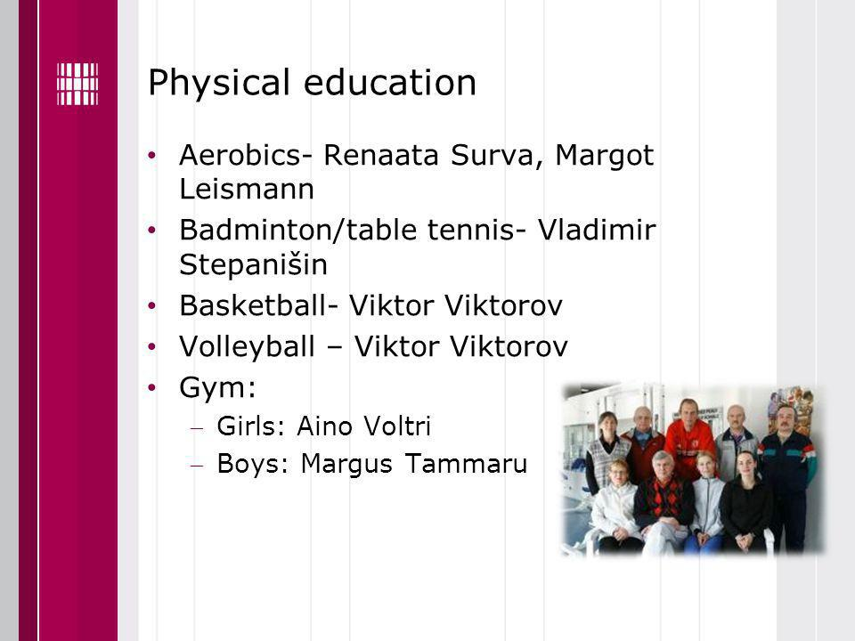 Physical education Aerobics- Renaata Surva, Margot Leismann Badminton/table tennis- Vladimir Stepanišin Basketball- Viktor Viktorov Volleyball – Viktor Viktorov Gym: Girls: Aino Voltri Boys: Margus Tammaru