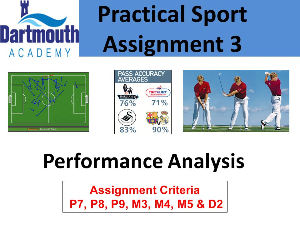Practical Sport Assignment 3 Performance Analysis Assignment Criteria P7, P8, P9, M3, M4, M5 & D2