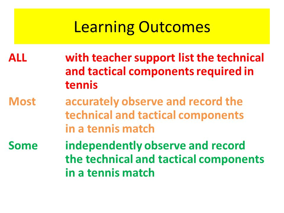 Learning Outcomes ALLwith teacher support list the technical and tactical components required in tennis Mostaccurately observe and record the technica